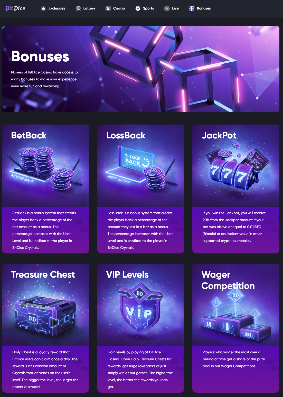 Bitdice bonuses